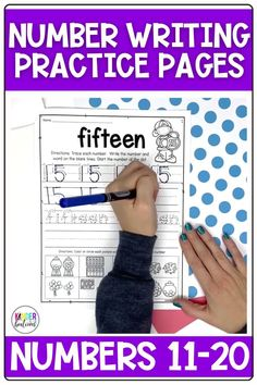 Number writing practice for numbers 11-20! These simple, no-prep worksheets come with 3 different versions to choose from. These trace and write number writing practice pages can be used whole-group, in a small group, independently, or as homework. There is also a special component at the bottom of each page for counting practice. Perfect for Kindergarten, Pre-K, TK, 1st grade, and homeschool. #math #kindergarten #preschool #kindergartenmath #numberwriting #commoncore #teaching #numbers
