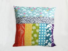 Rainbow Patchwork Cushion/ Pillow Cover by kirstylicious on Etsy, £18.00