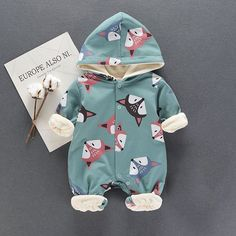 * Breathable and soft<br /> * Snaps front and bottom<br /> * Fleece lining<br /> * Material: 95% Cotton, 5% Spandex<br /> * Machine wash, tumble dry<br /> * Imported<br /> <br /> Lovely fox fronts a baby one piece crafted with snaps between the legs that makes diaper change quick and easy. Fleece linning provides great comfort and warmth.