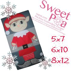 Elf Christmas wall hanging or table runner 5x7 6x10 and 8x12 design