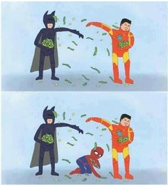 Iron Man vs Batman - and Peter Parker's got rent to pay! idk why, but this makes me giggle. ha ha!