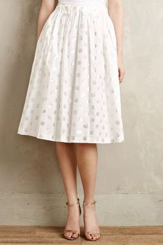 Shimmer-Spot Midi Skirt #Anthropologie