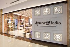 Spices India in Kochi by Four Dimensions Retail Design Shop Interior Design, Retail Design, Store Design, Kochi, Facade Design Pattern, Visual Merchandising, Spice India, Yogurt, Spice Shop