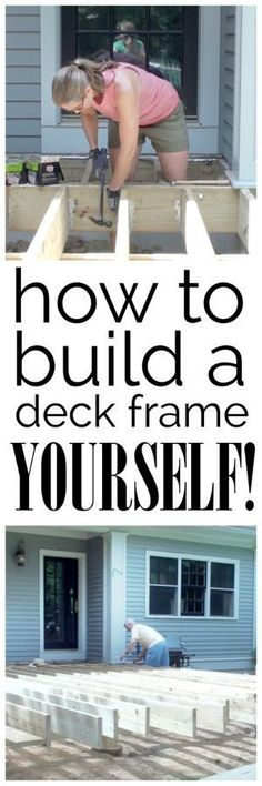 A video and photo tutorial detailing how to build the frame for a deck - yes, you CAN do it yourself! #deckframing