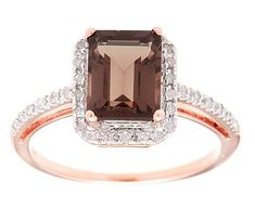 Pin it for later. Find out more chocolate diamond engagement rings. Instagems Rose Gold Emerald-Cut Smoky Quartz and Diamond Halo Ring Diamond Engagement Rings, Oval Engagement, Halo Rings, Smoky Quartz, Emerald Cut, Halo Diamond, Rose Gold, Princess Cut, Joseph