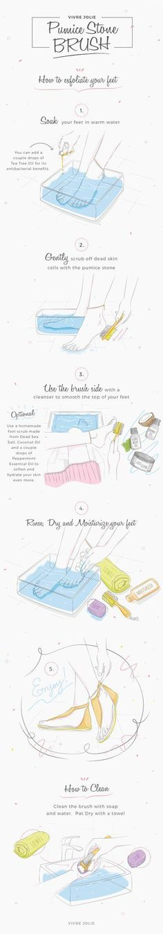How to exfoliate your feet with a DIY homemade Foot Scrub and a Pumice Stone Brush that removes callus and smoothes - by Vivre Jolie  #footscrub #vivrejolie