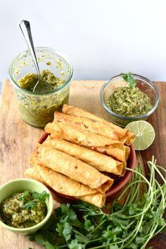 Shrimp Taquitos with Avocado Tomatillo Salsa?! Sign us up.