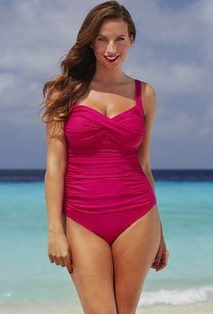 3ef5e6b509 Shore Club Raspberry Twist-Front Swimsuit Swimsuits 2016