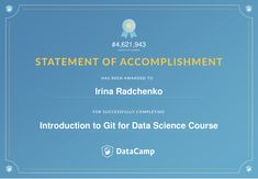 DataCamp certificate Introduction to Git for Data Science course