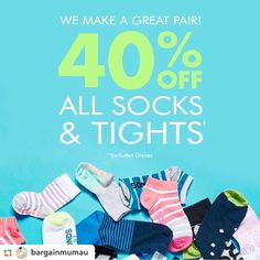 40% off #socks and #tights at @bondsaus. In store and online for a limited time. Thx @bargainmumau  #bonds #bondsaus #footwear  #bargainmum #bargainmumau