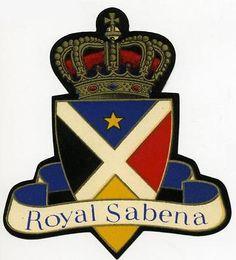 ROYAL SABENA - Great Old Die-cut Airline Luggage Label, 1950