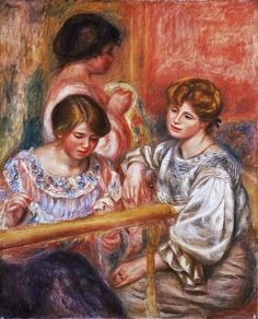Embroiderers (Les Brodeuses) by Pierre-Auguste Renoir, Barnes Foundation Medium: Oil on canvas Barnes Foundation (Philadelphia), Collection Gallery, Room North Wall Pierre Auguste Renoir, Jean Renoir, Edouard Manet, French Impressionist Painters, Impressionist Artists, Claude Monet, William Glackens, August Renoir, Renoir Paintings