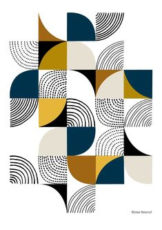 'Curves' | Open edition giclee print | Eloise Renouf | Curves is a new geometric print which plays with shape, pattern, colour and form. Inspiration came from a variety of sources including cut paper shapes, stitch and patchwork. Colours used in this piece include olive green, tan, mustard and navy on a white background