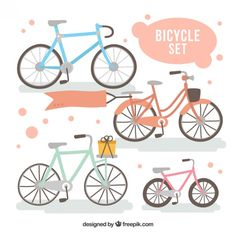 Hand painted bicycles set  Free Vector