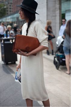 Off-white dress #Hat #Leather  #Clutch