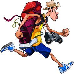 cartoon man tourist with a backpack, binoculars and maps, fast runs [преобразованный].png