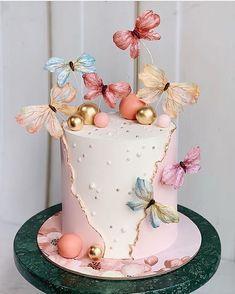 Butterfly Birthday Cakes, Baby Birthday Cakes, Butterfly Cakes, Beautiful Cake Designs, Beautiful Cakes, Amazing Cakes, Elegant Birthday Cakes, Beautiful Birthday Cakes, Pretty Cakes