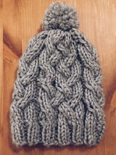 Beanie! #knitting #knit #beanie #grey #fashion #hat #winter #cable #cabled