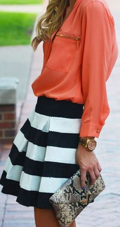 black and white striped skirt with orange blouse - Daytime Dressy Outfit  - School Appropriate Outfit #favorite_pin