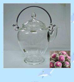 FREE SHIPPING 20 pcs Different Organic Blooming Tea Balls+ Elegant Glass Teapot 450ml 89.95 USD