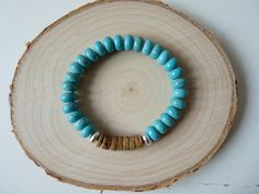 Turquoise Howlite and wood bracelet, Hematite power bracelets, unisex bracelets, men's bracelets, Boho jewelry, Unisex Wooden jewelry, blue and brown, blue bracelet, boho bracelets,  unisex