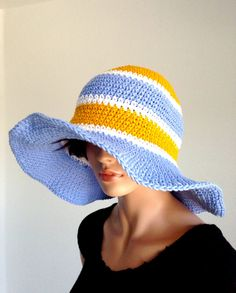 Large Brimmed Cotton Summer Hat. Crochet Beach Hat by Africancrab, $40.00