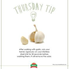The smell of garlic can linger to our hands after slicing them, here's one tip to try on.