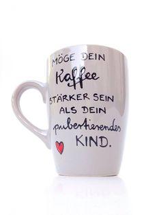 Becher & Tassen - Pubertät ♥ Kaffeetasse für Eltern vom Pubertier - ein Designerstück von Hoch-Die-Tassen bei Etsy