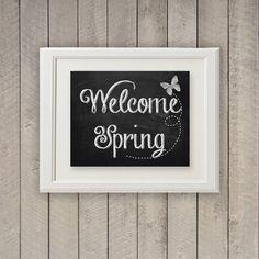 Springtime art. Easter Art. Welcome Spring Art. Spring Chalkboard art. by WhitetailDesigns, $5.00