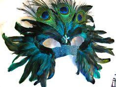 Handmade Custom Peacock Mask / On Sale / Feather Mask / Masquerade Mardi Gras. $49.00, via Etsy.