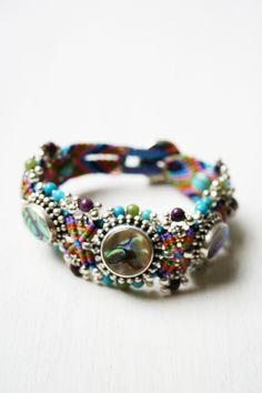 Image detail for -Isha Elafi Macrame Bracelet with GemStones and Silver / Blue