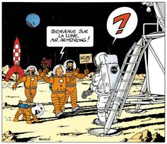 In 1969, Hergé was commissioned to draw this picture by the Dechy advertising agency. Like Neil Armstrong, Tintin remained unassuming upon his return to Earth. © Hergé / Moulinsart