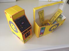 Pac-Man Party Favor Box from WendysPrintableParty on Etsy