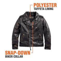 Harley-Davidson Men's Master Distressed biker Jacket - Soomro Lambskin Leather Jacket, Faux Leather Jackets, Leather Men, Mens Essentials, Windbreaker Jacket, Harley Davidson, Biker