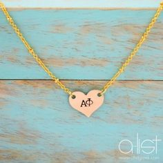 "Sorority Heart Necklace - Customize with your sorority letters! Use CODE ""floridagreek"" for 10% off + free shipping!"