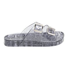 Clearly Glitter Jelly Slide Sandals ❤ liked on Polyvore featuring shoes, sandals, glitter jelly sandals, slide sandals, clear sandals, glitter jelly shoes and clear shoes