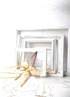 Rustic Distressed White Wood Art Frames. Holiday by 3vintagehearts