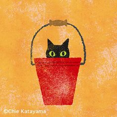 by Chie Katayama Cat Love Quotes, Cat Anatomy, Black Cat Art, Stuffed Animal Cat, Cat Wallpaper, Cat Drawing, Illustrations And Posters, Cool Cats, Cat Lovers