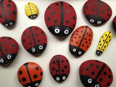 Easy craft ladybird: fun for both adults and children to do and makes great, simple individual gift. Just collect a few smooth stones, using acrylic paint. completely paint stones in one colour ie red. Decorate using black acrylic paint (spots & straight lines). Use white for eyes. Varnish. Make a collection of them  and they never fail to get noticed! :0)