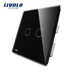 Domotique, LIVOLO, Interrupteur Mural, 2-gang 1-way, ROYAUME-UNI standard, noir Panneau de Verre, Interrupteur Tactile VL-C302-62 avec LED indicateur