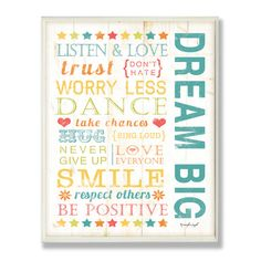Found it at Wayfair - The Kids Room Dream Big Kids Typography Rules Rectangle Wall Plaque http://www.wayfair.com/daily-sales/p/After-School-Playroom-Picks-The-Kids-Room-Dream-Big-Kids-Typography-Rules-Rectangle-Wall-Plaque~SXI1333~E21673.html?refid=SBP
