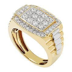 Jewels By Lux Sterling Silver Mens Two-tone CZ Square Head SZ8-Cluster Band RingSet With The Highest Quality Cubic Zirconia Ring Size 8