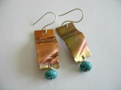 Copper Fire Torched Earrings Turquoise Sterling by fitzidesigns, $18.00