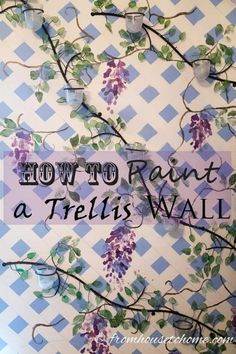 To add the relaxing feeling of a garden to an indoor room, try painting a trellis with wisteria vines (or any other kind of vine that you like) to one wall of t… Wall Paint Colors, Paint Colors For Home, Paint Walls, Do It Yourself Decorating, Diy Decorating, Interior Decorating, Stencil Painting, Painting Tips, Painting Techniques