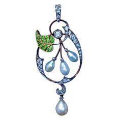 Art Nouveau Diamond Demantoid Pearl Pendant c. 1910