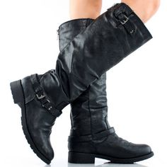 My favorite black boots so far!! Black Buckle Zipper Motorcycle Biker Punk Womens Flat Knee High Boots