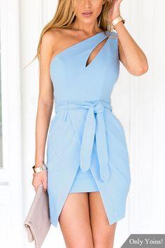One Shoulder Irregular Hem Mini Dress with Belt