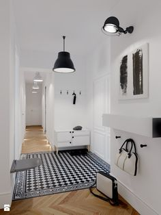 wood | shelf | hanger | storage | boxes | plywood | hallway | hall | black | white | bench | tiles
