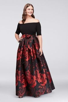 This plus-size ball gown is in bloom: the rose jacquard skirt makes a bold floral statement, as the off-the-shoulder crepe bodice stays stylishly on-trend. Side pockets and a wide sash complete the silhouette.   By Jessica Howard  Polyester, spandex  Back zipper; fully lined  Dry clean  Imported  Also available in regular