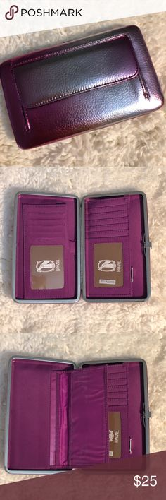 """9️⃣H A N A N E L  WALLET H A N A N E L  WALLET  Perfect wallet for the gal on the go!  Colorful, compact and convenient. Sturdy metal frame with easy-open clasp. Multi-function interior accommodates ID photo window, credit card slots, cash, checkbook holder!    ⚜️Measurements are 7.5"""" length x 1"""" width x 4.5"""" height ⚜️Sleek, unique & chic wallet ⚜️Opens easily & lies flat to allow easy access ⚜️Zippered pouch ⚜️Pocket on the back of wallet ⚜️Bonus checkbook cover included Bags Wallets"""